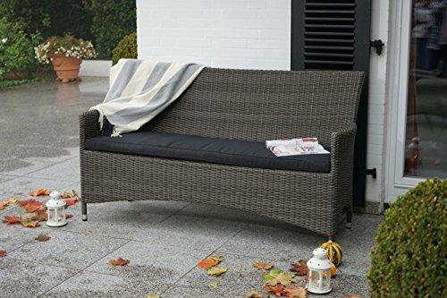 Gemütliche & hochwertige Gartenbank aus Poly Rattan / 165cm breit/wetterfest/inkl. Kissen/rostfreier Alu Rahmen/Farbe: grau braun / 3 sitzer/Rattan/Bank