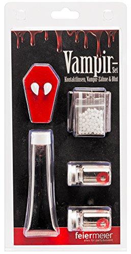 Vampir Dracula Komplett Set - Kontaktlinsen rot + Vampirzähne mit Abformmasse + rotes Kunstblut