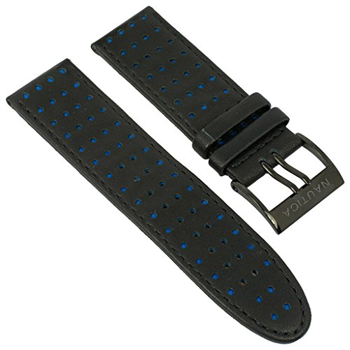 Uhrenarmband Nautica Leder schwarz/blau mit schwarzer Naht 26mm für A21008G
