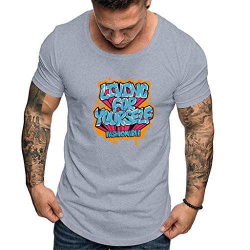 5bc2229b552163 JJggsi4 Simple Maglietta Maniche T-Shirt in Cotone da Uomo Fashion World  Abito da Stampa
