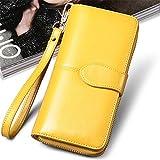 Frauen Lange Schnalle Bi-Fold Handtasche Echtleder Clutch Handtasche Frauen-Karten-Kupplungs-Halter-Lange Geldbörsen (Color : Mango Yellow)