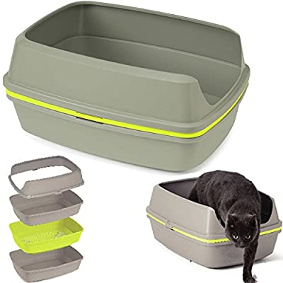 Cat Grey Scoopless Litter Tray Sifting Toilet Box High Sided Rim Pan Loo