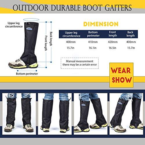 Overmont 1 Paar Wasserdicht Gamaschen Outdoor Gamaschen Bein Schutz für Bergsteigen Wandern Camping Klettern Skifahren Schneewandern Jagd M/ L Schwarz/ Grün
