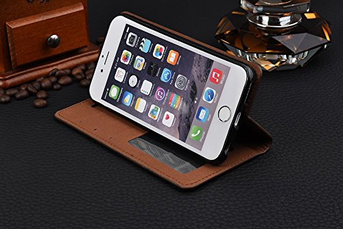iPhone Case Cover IPhone 6s 6 Case, Business Étui en cuir Magneetic Fermeture Cas Crazing Horse Modèle Wallet Stand Case Avec Cash Card Slots Pour iPhone 6s 6 ( Color : Blue , Size : IPhone 6s ) Black