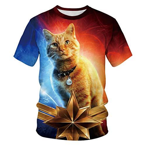Männer 3D T-Shirt Iron Man Film Phishing Beast Orange Katze Fußball Team Uniform Muster Digitaldruck Liebhaber Shirt(M,Bunt)