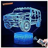 3D Jeep Lampe LED Nachtlicht mit Fernbedienung, USlinsky 7 Farben Wählbar Dimmbare Touch Schalter Nachtlampe Geburtstag Geschenk, Frohe Weihnachten Geschenke Für Mädchen Männer Frauen Kinder