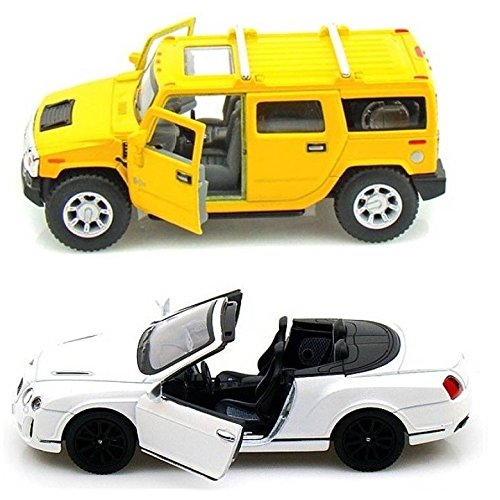 Playking Kinsmart Combo of 2010 Bentley Continental and Hummer 5'' Die Cast Metal, Doors Openable and Pull Back Action (Color May Vary)  available at amazon for Rs.749