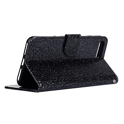 Hülle für iPhone 7 plus , Schutzhülle Für iPhone 7 Plus Glitter Powder Leder Tasche mit Halter & Wallet & Card Slots ,hülle für iPhone 7 plus , case for iphone 7 plus ( Color : White ) Black