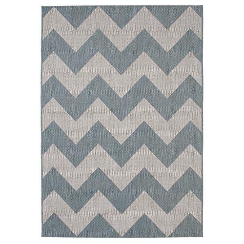 HomeLinenStore Designer Style sehr langlebig Zig Zag Muster Blau Teppich in Zwei verschiedenen Größen, Polypropylen, blau, 160 x 220 cm -