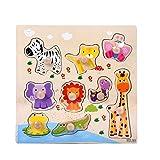 Vovotrade 9 Piece Animaux en Bois Puzzle Puzzle Apprentissage Précoce Bébé Enfants Jouets Éducatifs Wooden Animal Puzzle Jigsaw Early Learning Baby Kids Educational Toys (D)