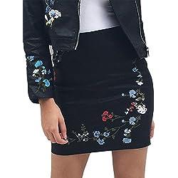 Simplee bordado floral ropa mujer bodycon mini falda negro cuero de la PU