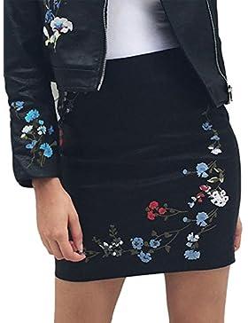 Simplee bordado floral ropa mujer bodycon mini falda de cuero de la PU de corta