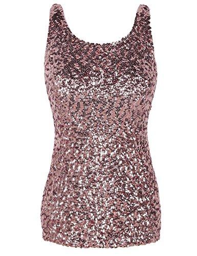 (PrettyGuide Frauen Shimmer Glam Pailletten verziert Sparkle Trägershirt-Weste Tops XXL/EU46-48 pink)