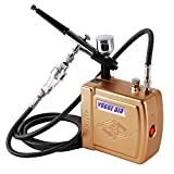 YAOBLUESEA Mini Kit Complet de compresseur aérographe Airbrush compresseur Professionnel Double Action Airbrush kit 100-240V Or