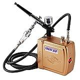 YITOO Sistema Completo De Mini Aerografo Compresor Para Tatuaje Arte Uñas Arte Maquillaje Arte Pastel Spray Modelo Edificio Herramienta Oro 100-240V