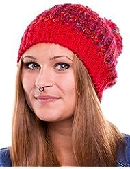 Bonnet chaud et à la mode avec un grand pompon 2013/2014 - chapeau tricoté de laine chapeau d'hiver 260 (rouge)