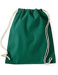 Turnbeutel unbedruckt aus Baumwolle 12 Farben verfügbar Sportbeutel (grün)