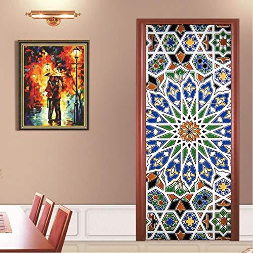 (MYLOOO Bunte Gläser Religiöse Thema Wand Tür Aufkleber Schlafzimmer Dekoration Poster PVC Wasserdichte Tür Aufkleber Aufkleber 77X200 cm)