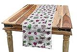 ABAKUHAUS Good Vibes Tischläufer, 80er 90er Muster, Esszimmer Küche Rechteckiger Dekorativer Tischläufer, 40 x 180 cm, Schwarz Grün Rosa