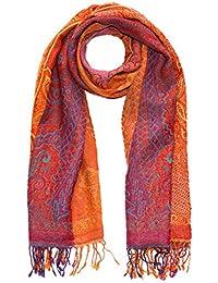 Lorenzo Cana Italian Scarf Pashmina 100% pure Wool 71'' x 28'' Paisley Orange Pink Yellow 7819611