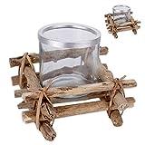Windlicht Teelichthalter aus Treibholz mit Glaseinsatz Modell