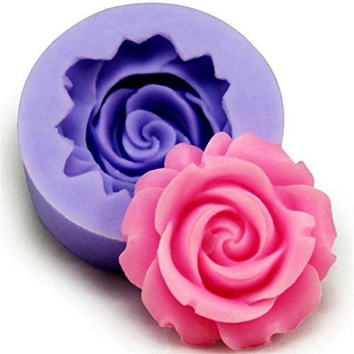 Cdet Geleeform Ich liebe dich Rosen Liebe Muster Kuchen Schimmel praktisch weich Töpfchen Gelee handgemachte Seife Schimmel (Blau Blume)