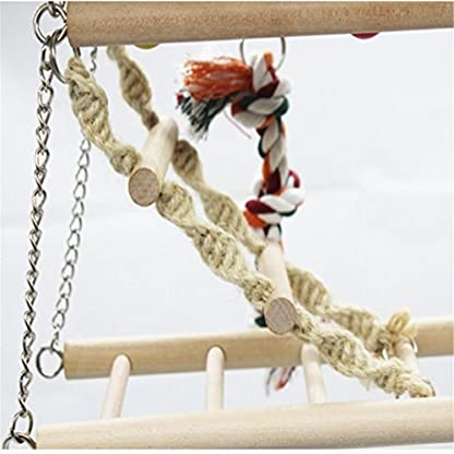 Gaddrt Animal Activity Toy Parrot Climbing Net Parrot Ladder Swing Budgie Hanging Toy Suspension Bridge Hammock Swing Ladder 6