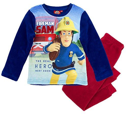 Feuerwehrmann Sam Schlafanzug Jungen Lang Pyjama (Blau-Rot, 116)