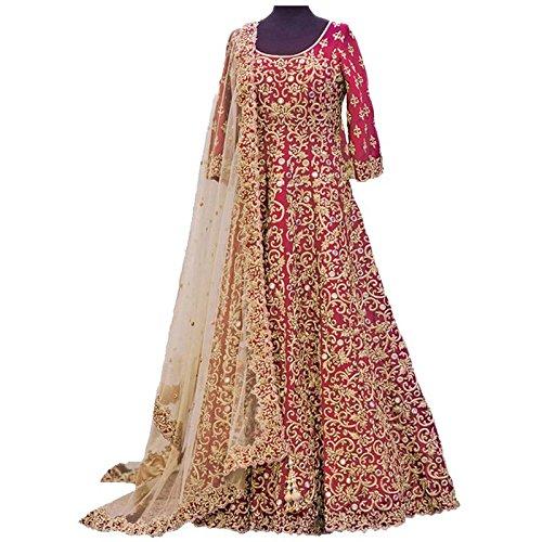 Aryan Fashion Women's Banglory Silks Anarkali Salwar Suit Set (Tghvd11144_Pink)
