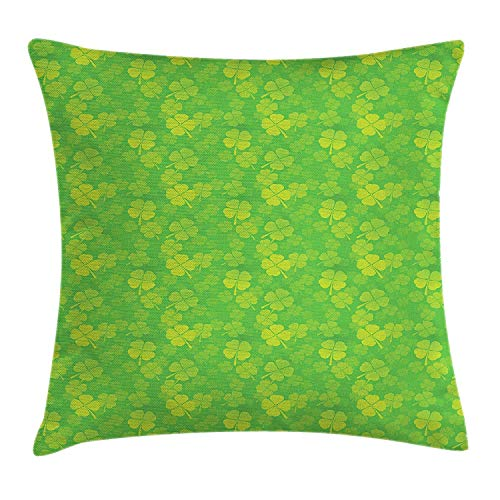 MLNHY Shamrock Throw Pillow Cushion Cover, Four Leaf Clover Monochrome Traditional Saint Patrick's Day Arrangement, Decorative Square Accent Pillow Case, 18 X 18 inches, Apple Green Yellow Patrick Woven Tie