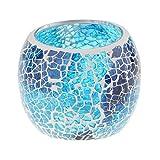 non-brand MagiDeal Mosaikglas Teelichthalter Teelicht Windlicht Kerzenhalter Mosaikglas Kugel bunt Ornament - Blau