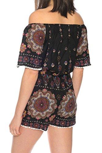 Dress Sheek Damen Jumpsuit Kurz Playsuit Sommer Spitze Luftig Mehrfarbig Gemustert Overall R216 - Schwarz