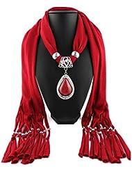 LUFA Longue résine de femme petite strass pendentif châle foulard écharpe collier avec pendentif