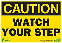 Zing Green Products ZING 1154 Eco Safety Sign, CAUTION Watch Your Step, 7Hx10W, Recycled Plastic