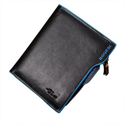JERFER Herren Leder ID Kredit kartenhalter Kupplung Münzen Geldbörse Geldbörsen Taschen (Blau) (Id-kartenhalter Geldbörse)