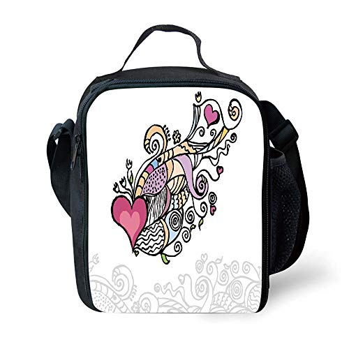 s Doodle,Cute Drawing of a Flying Heart Waving Bannerlike Objects Love Valentines Inspired,Multicolor for Girls or Boys Washable ()