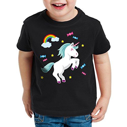 style3 Unicorn Candy Einhorn Kinder T-Shirt Regenbogen Süßwaren, Farbe:Schwarz;Größe:116