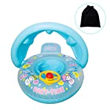 Onlydroid Schwimmring für Baby von 1 bis 3 Jahre Aufblasbare Umweltfreudlich PVC Schwimmhilfe Schwimmreifen mit Sitz Sonnenschutz