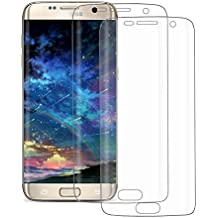 2-Pack Protector de Pantalla Samsung Galaxy S7 Edge, POOPHUNS Protector Pantalla para Samsung Galaxy S7 Edge, Borde a Borde, Cobertura Total, HD Clear, Alta Transparencia, Sin Burbujas, Libre de Polvo, Huella Liberan, Instalación Sin Problemas