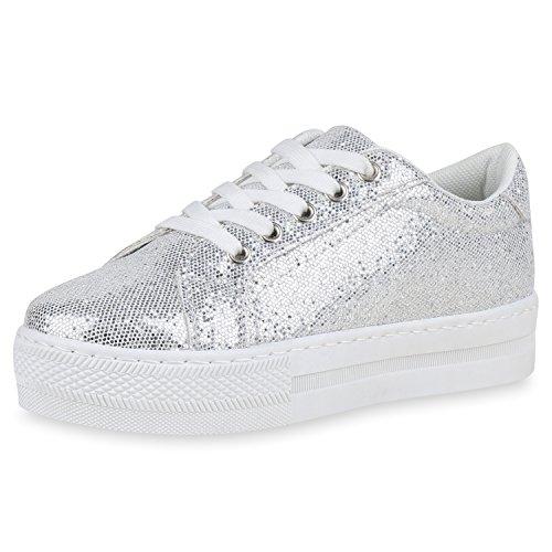Scape Vita Damen Plateau Sneaker Glitzer Turnschuhe Freizeit Schuhe Schnürer 163003 Silber 40