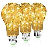 techgomade Lichterkette Lampe 2W E27, LED Edison Lampe A60Globe Vintage Lampe, Dekorative Lampe für Party Hochzeit Festival, warm weiß 3000K