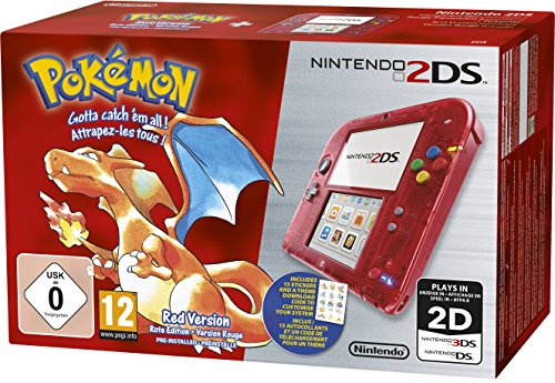 Nintendo 2DS - Konsole (Rot Transparent) inkl. Pokémon Rote Edition