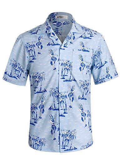 APTRO Herren Hemd Strandhemd Hawaiihemd Kurzarm Urlaub Hemd Freizeit Reise Hemd Party Hemd Tanz BT019 XXXL