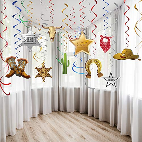 Blulu Decorazioni per Feste Occidentali Turbinii Appesi Turbinii in Lamina Decorazioni per Soffitti per Feste Cowboy Occidentale Tema per Feste Barnyard Tema Compleanno Baby Shower per Eventi 30Ct