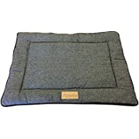 Ellie-Bo Reversible Tweed and Black Faux Fur Mat Bed for Medium 30 inch Dog Puppy Cages and Crates