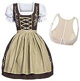 Gaudi-Leathers Bavarese Dirndl Set Marrone con Beige 4 Pezzi Costume Tipico Tirolese per Oktoberfest con Push-up Carnevale Donna 34 XL