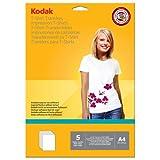 Kodak 5740-021 Carta Fotografica per Trasferimento su T-Shirt, per Tessuti Chiari, Formato A4 210x297 mm, Bianco