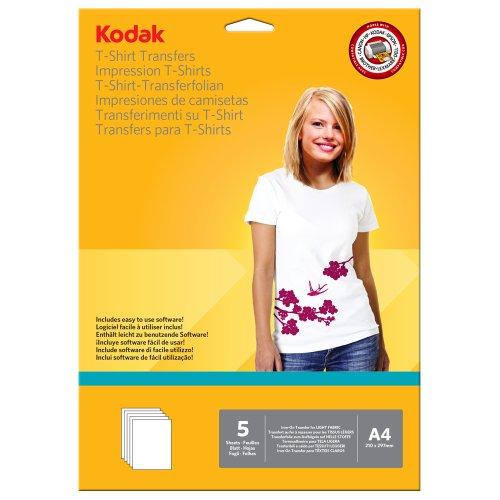 Kodak CAT5740-021 Carta Fotografica per Trasferimento su T Shirt, per Tessuti Chiari, Formato A4, Bianco, 210 x 297 mm