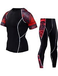 MISSMAO Homme t-Shirt Top de Compression Manches Courtes Base Layer de Sport  avec Pantalons de Sport Leggings de Compression… ee3eff9db2f