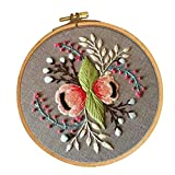 FLAMEER Kreuzstich Stickpackung Stickbild Stickerei Stickvorlage Stickrahmen vorgedruckt - Blumen Muster, 30 x 30 cm